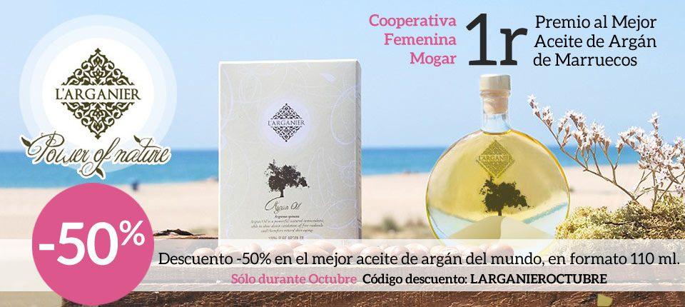 50% de descuento en los aceites de argán de 110 ml de L'Arganier