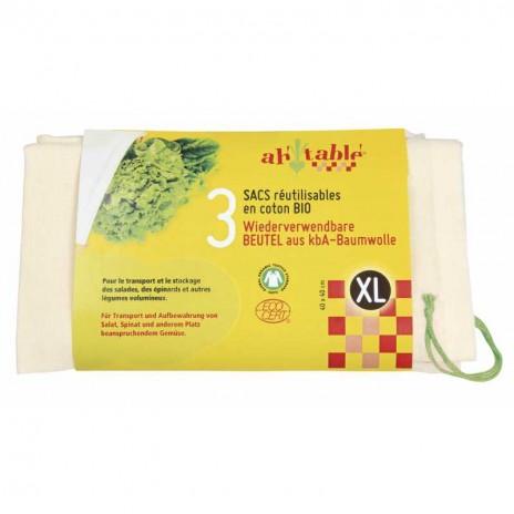 Ah Table Pack de 3 Bolsas de Algodón Ecológico XL