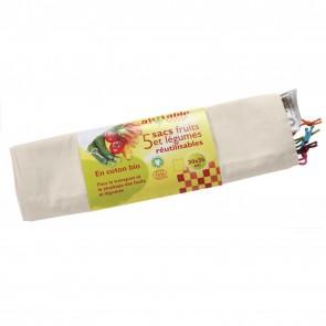 Ah Table Pack de 5 Bolsas de Algodón Ecológico para Frutas y Verduras