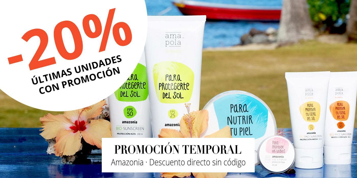 PROMOCIÓN: 20% de descuento en solares Amapola Biocosmetics Amazonia. Unidades Limitadas.